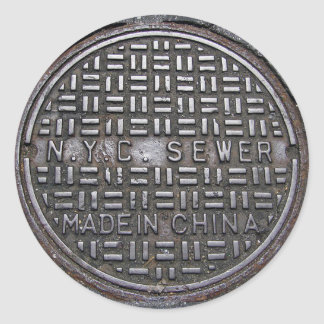 New York City Sewer Cover & Asphalt Photograph Fun Round Sticker