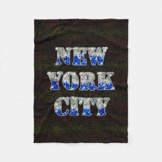 New York City Silver Blue Glitters Fleece Blanket