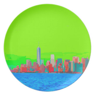 New York City Sky Line Party Plate