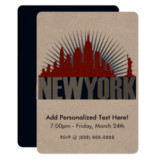 New York City Skyline 13 Cm X 18 Cm Invitation Card