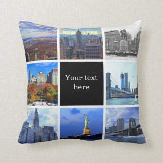 New York City Skyline 8 Instagram Photo Collage Throw Pillow