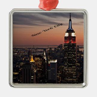 New York City Skyline at Night Metal Ornament