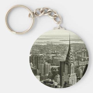 New York City Skyline Basic Round Button Key Ring