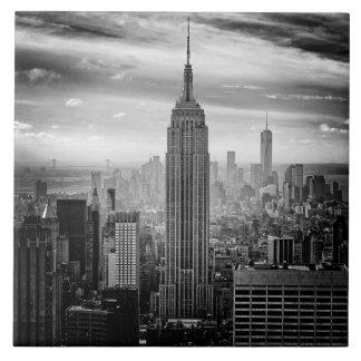 New York City skyline black and white Ceramic Tile