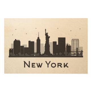 New York City | Skyline Black and White Wood Print