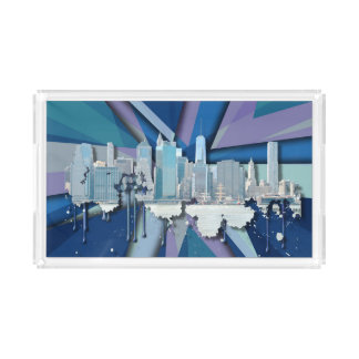 New York City Skyline | Blue 3D Acrylic Tray