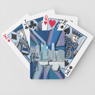 New York City Skyline | Blue 3D Bicycle Playing Cards