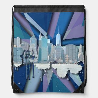 New York City Skyline | Blue 3D Drawstring Bag