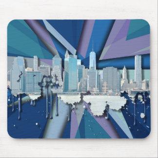 New York City Skyline   Blue 3D Mouse Pad