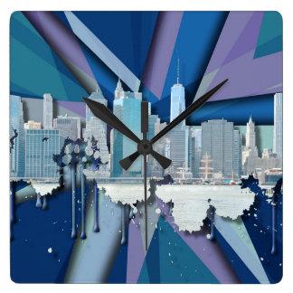 New York City Skyline | Blue 3D Square Wall Clock