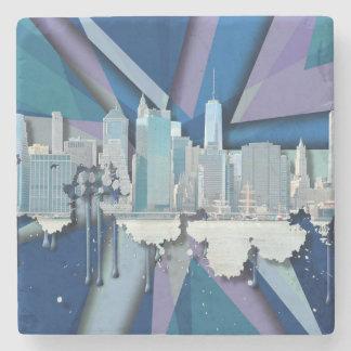 New York City Skyline | Blue 3D Stone Coaster