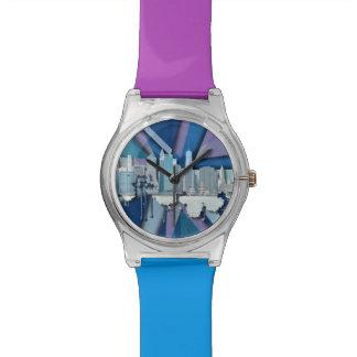 New York City Skyline | Blue 3D Watch