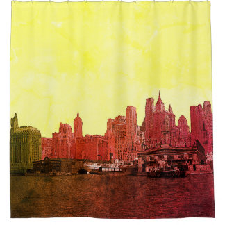 NEW YORK CITY SKYLINE COLORFUL COMIC LOOK SHOWER CURTAIN