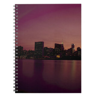 New York City Skyline Dusk Manhattan Urban City Notebook