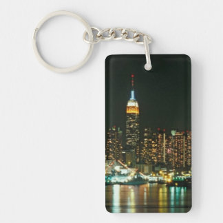 NEW YORK CITY SKYLINE Single-Sided RECTANGULAR ACRYLIC KEY RING