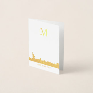 New York City Skyline Monogram Foil Card