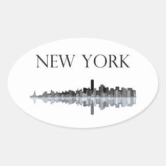 New York City Skyline Oval Sticker