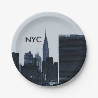 New York City Skyline Paper Plates 7 Inch Paper Plate