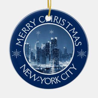 New-York City Skyline Photo Christmas Addition Ceramic Ornament