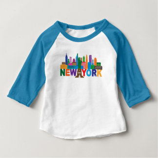New York City Skyline Typography Baby T-Shirt