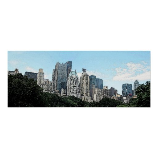 New York City Skyline Watercolor Poster Print