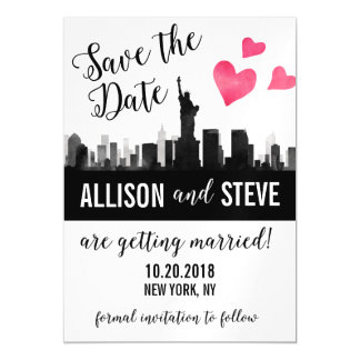 New York City Skyline Wedding Save the Date Magnet Magnetic Invitations