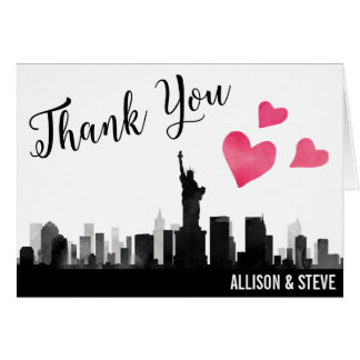 New York City Skyline Wedding Thank You Card