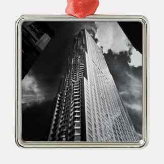 New York City Skyscraper in Black and White Metal Ornament