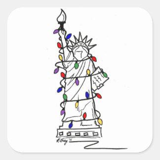 New York City Statue of Liberty Christmas Lights Square Sticker