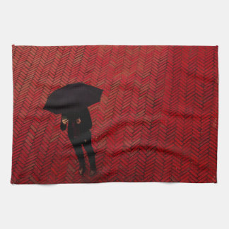 New York City Street Scene, Rainy Day Umbrella Tea Towel