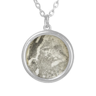 New York City Streets and Buildings Vintage Map Silver Plated Necklace