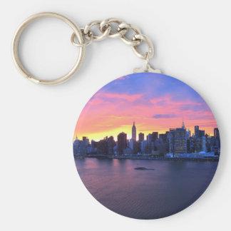 New York City Sunset Basic Round Button Key Ring