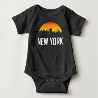 New York City Sunset Skyline Baby Bodysuit