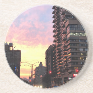 New York City Sunset Upper West Side Buildings NYC Coaster