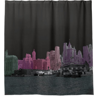 NEW YORK CITY SYLINE 1930'S YOUR BACKGROUD COLOR SHOWER CURTAIN