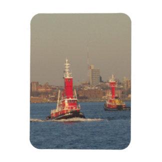 new york city tall red tug boats rectangular photo magnet