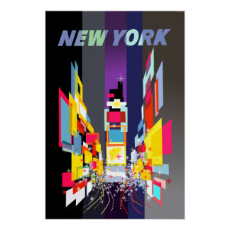 New York City, Time Sqaure travel poster
