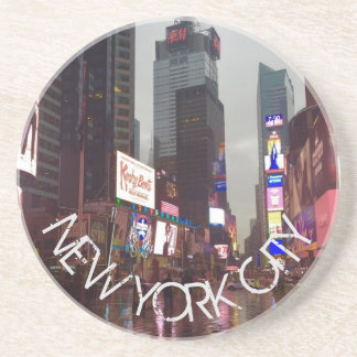 NEW YORK CITY Times Square NYC Neon Signs Rain Coaster