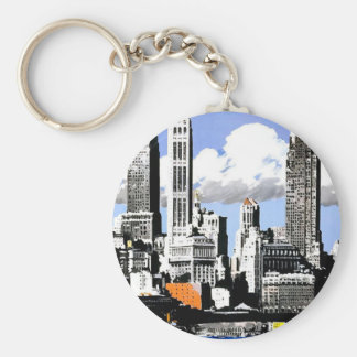 New York City Travel Basic Round Button Key Ring