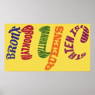 New York City Typographic NYC Poster Print