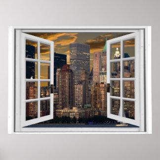 New York City View Fake Window Poster