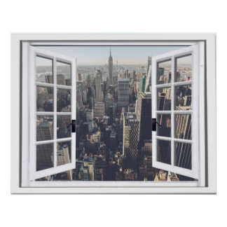 New York City View Faux Window Poster