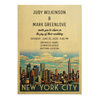 New York City Wedding Invitation Vintage NYC