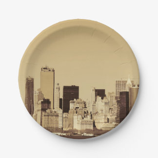 New York Cityscape 7 Inch Paper Plate