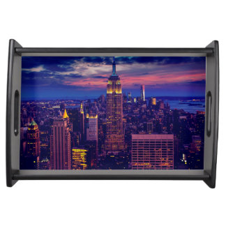 New York Cityscape at Night Serving Tray