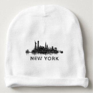 New York Dark-White Skyline v07 Baby Beanie