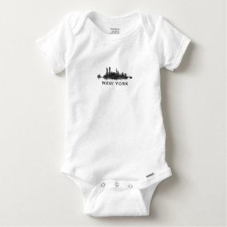 New York Dark-White Skyline v07 Baby Onesie