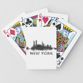 New York Dark-White Skyline v07 Bicycle Playing Cards