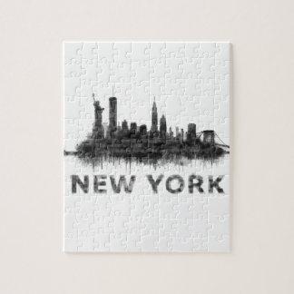 New York Dark-White Skyline v07 Jigsaw Puzzle