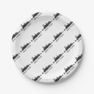 New York Dark-White Skyline v07 Paper Plate